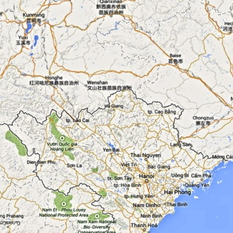 Introduction to stories and histories from the china vietnam border china vietnam borderlands source google maps gumiabroncs Choice Image